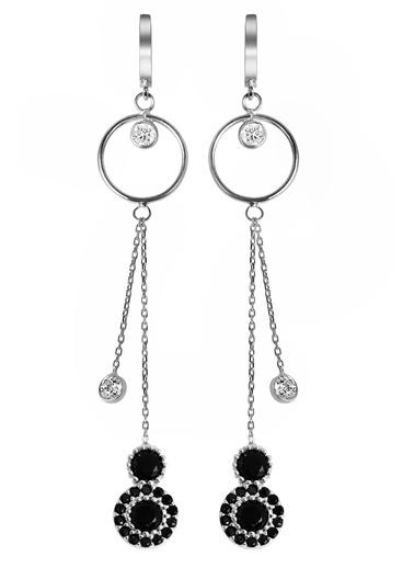 Argentum Concept Siyah Taşlı Gümüş Sallantılı Küpe Gümüş